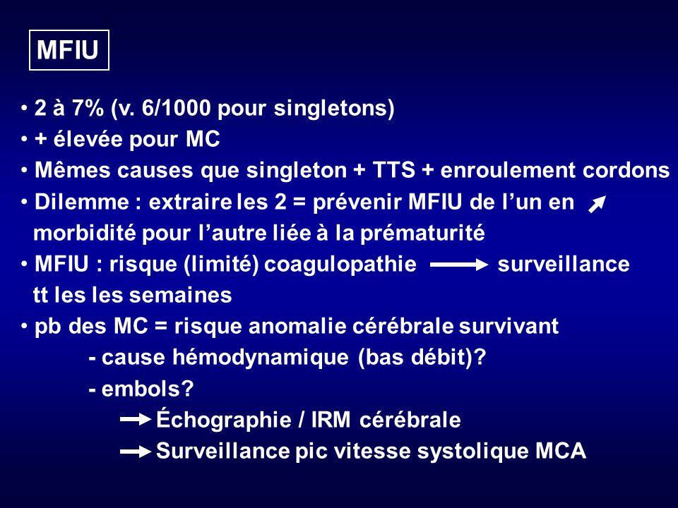 MFIU 2 à 7% (v. 6/1000 pour singletons) + élevée pour MC