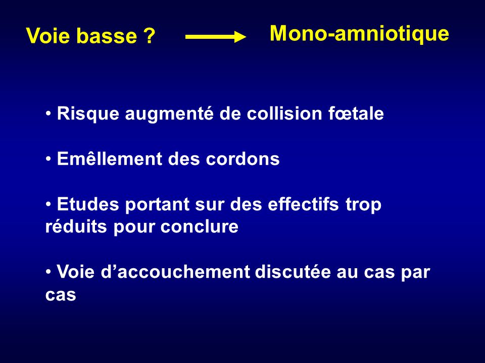 Mono-amniotique Voie basse Risque augmenté de collision fœtale