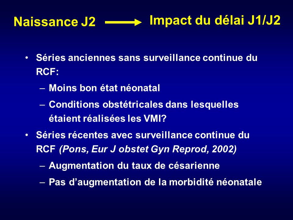 Impact du délai J1/J2 Naissance J2