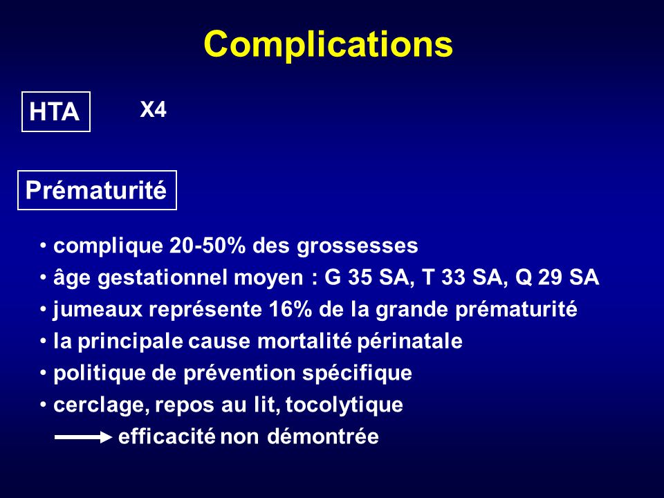 Complications HTA Prématurité X4 complique 20-50% des grossesses