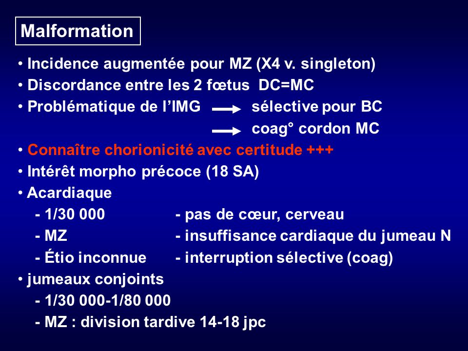 Malformation Incidence augmentée pour MZ (X4 v. singleton)