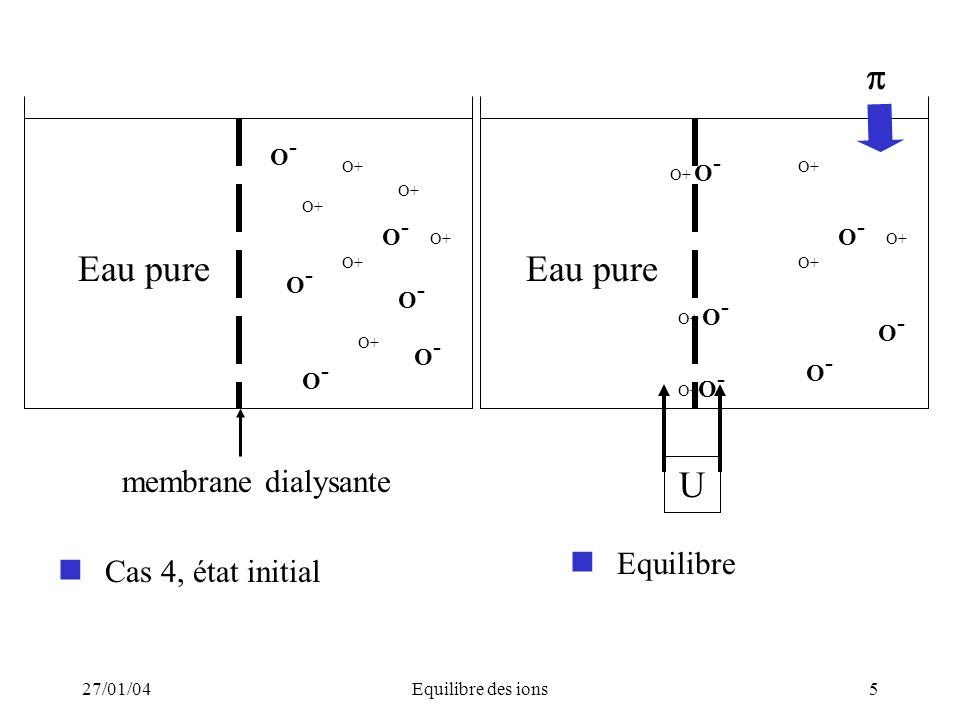 Equilibre Cas 4, état initial  U membrane dialysante O- 27/01/04