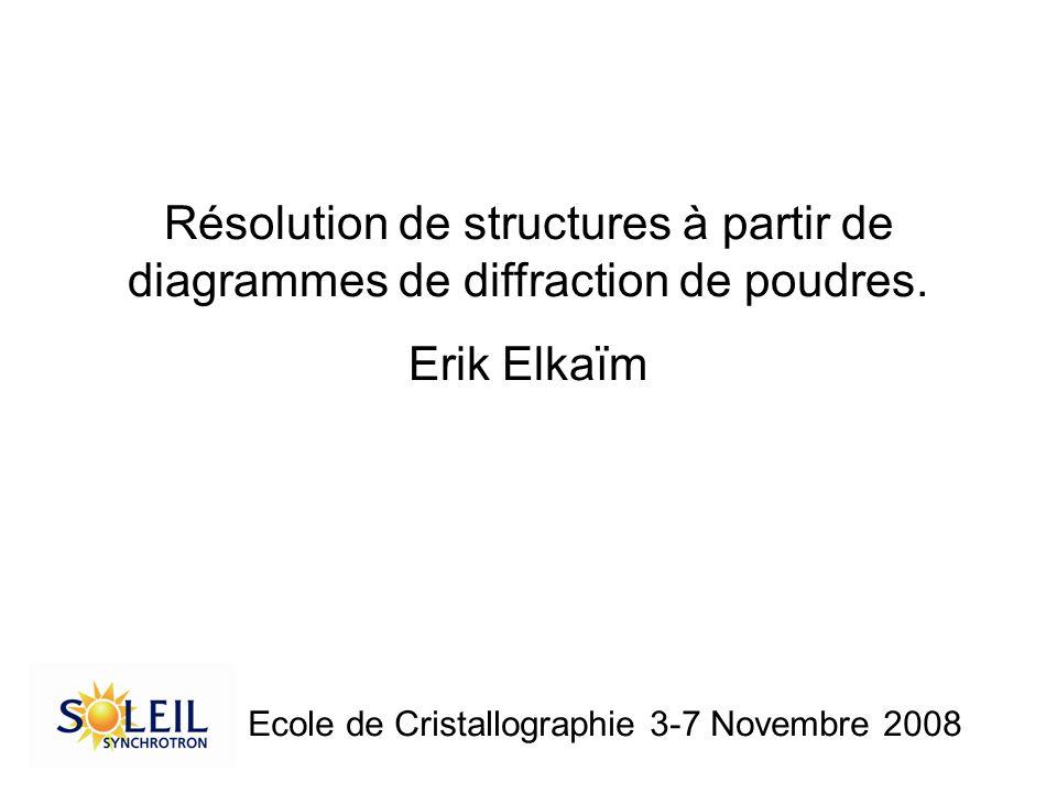 Résolution de structures à partir de diagrammes de diffraction de poudres.