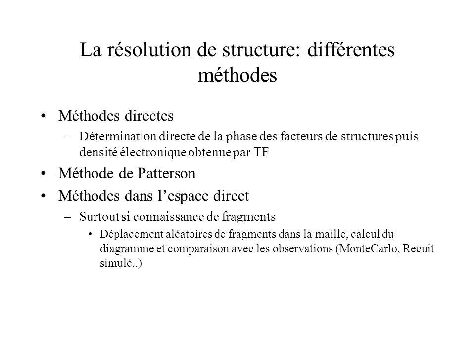 La résolution de structure: différentes méthodes