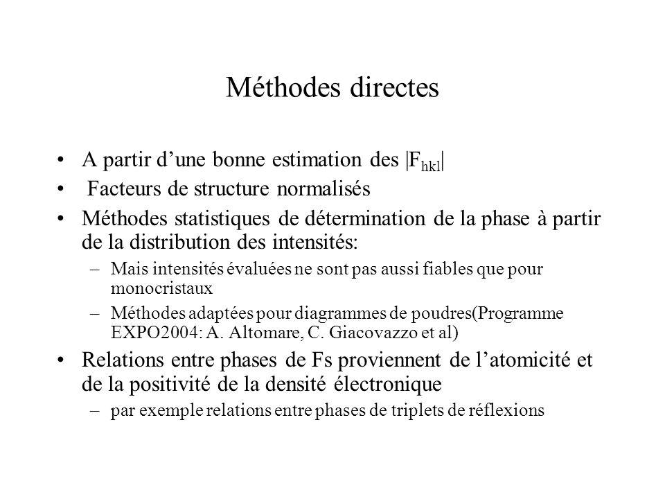 Méthodes directes A partir d'une bonne estimation des |Fhkl|