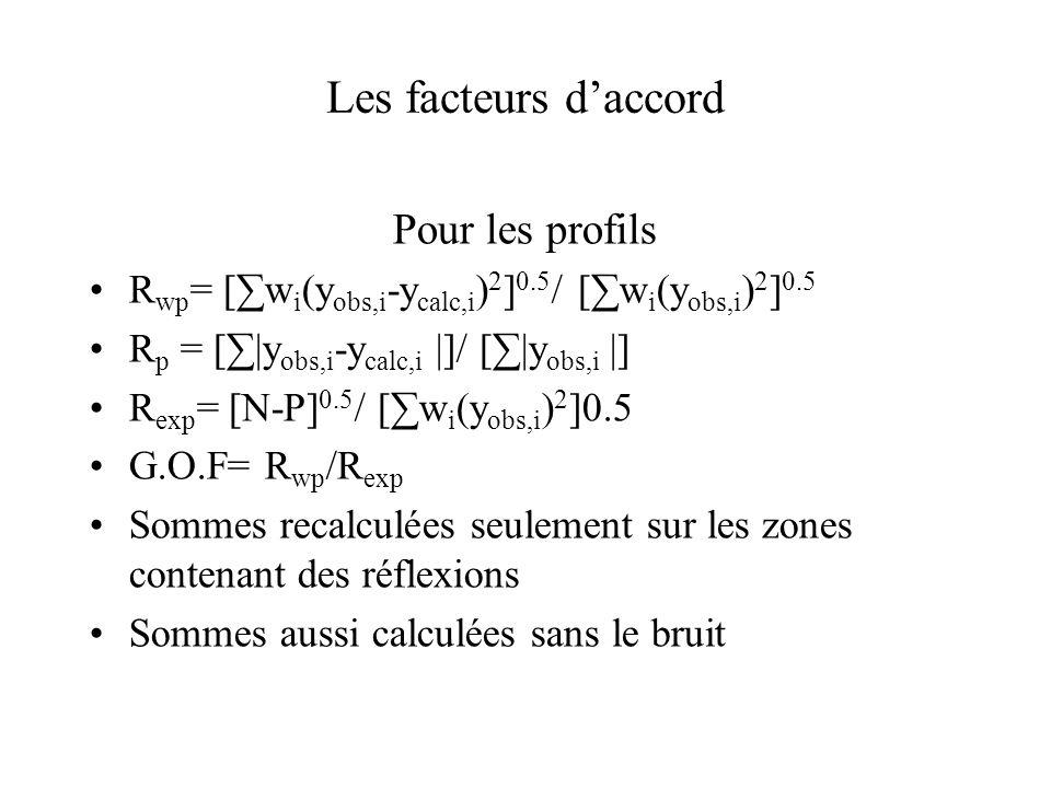 Les facteurs d'accord Pour les profils