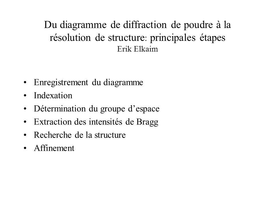 Du diagramme de diffraction de poudre à la résolution de structure: principales étapes Erik Elkaim