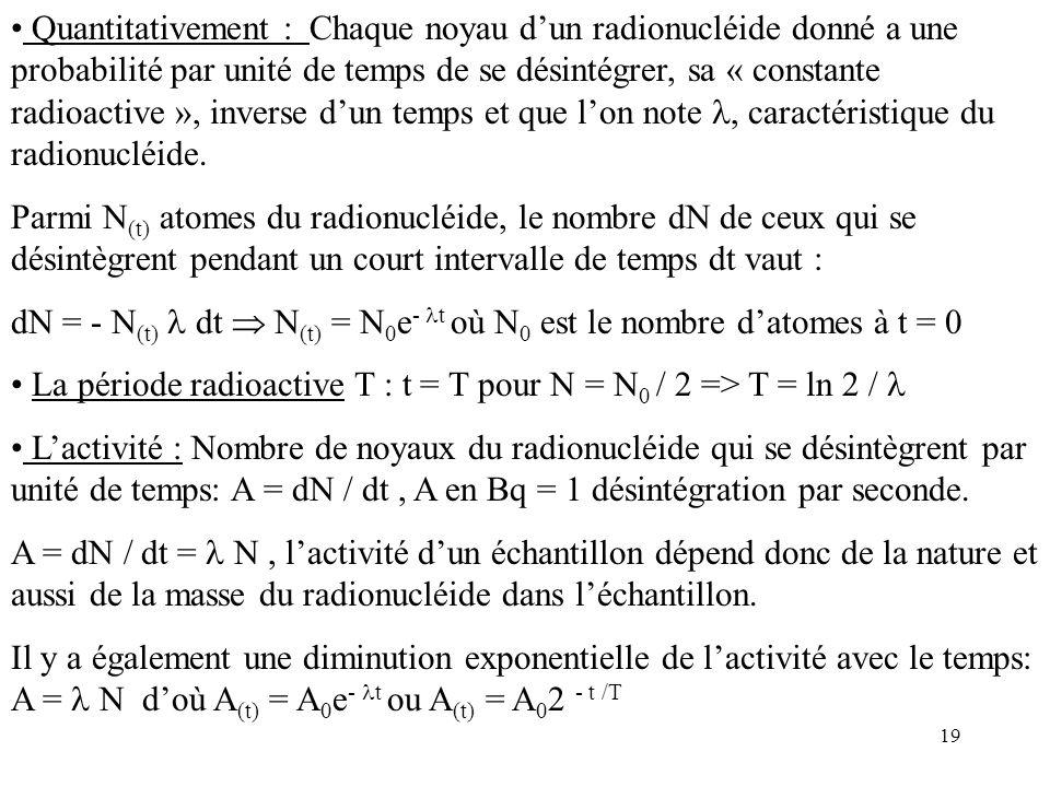 Quantitativement : Chaque noyau d'un radionucléide donné a une probabilité par unité de temps de se désintégrer, sa « constante radioactive », inverse d'un temps et que l'on note , caractéristique du radionucléide.