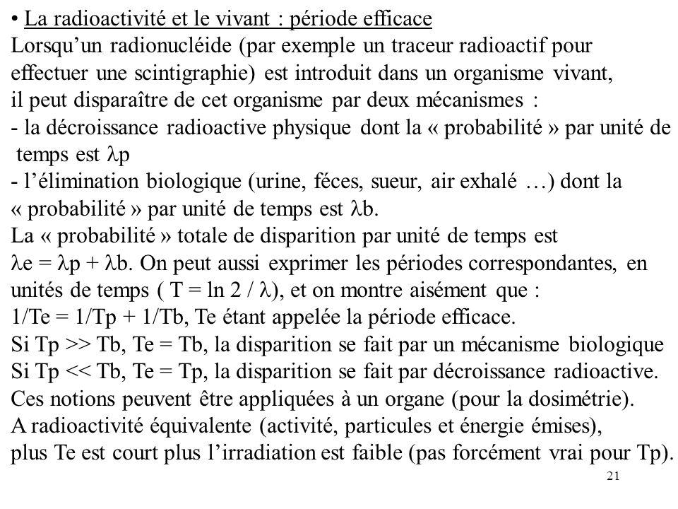 La radioactivité et le vivant : période efficace