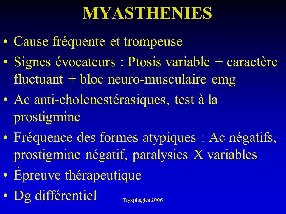 MYASTHENIES Cause fréquente et trompeuse