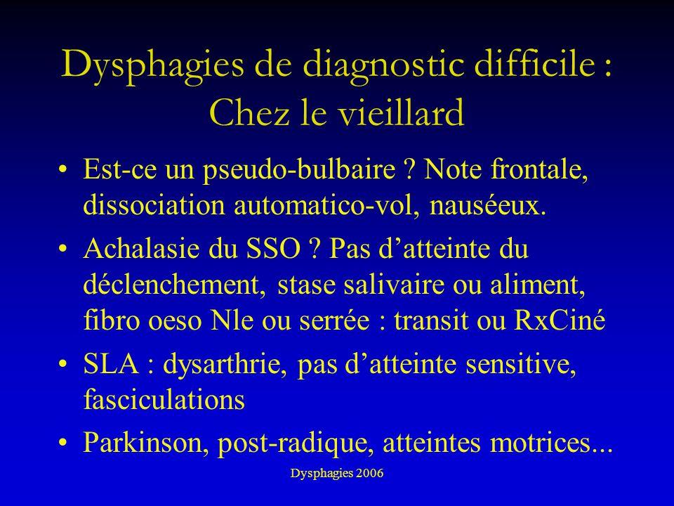 Dysphagies de diagnostic difficile : Chez le vieillard