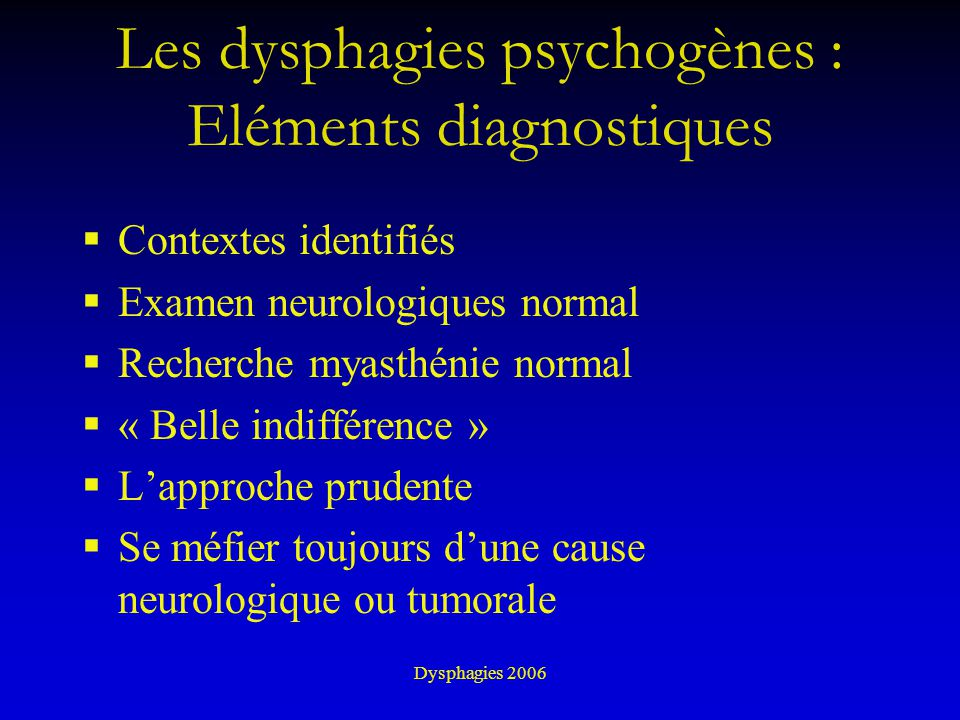 Les dysphagies psychogènes : Eléments diagnostiques