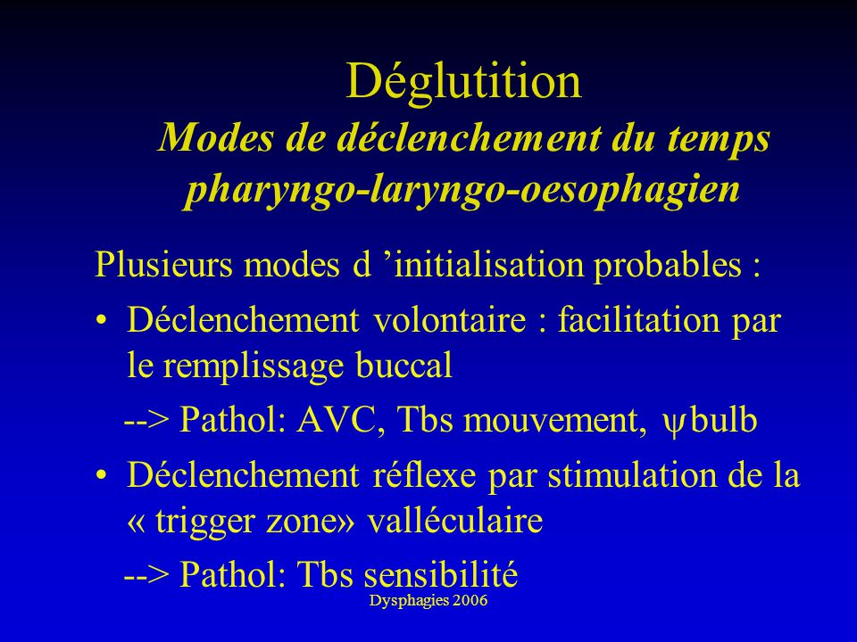 Déglutition Modes de déclenchement du temps pharyngo-laryngo-oesophagien