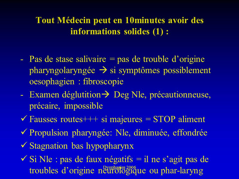 Tout Médecin peut en 10minutes avoir des informations solides (1) :
