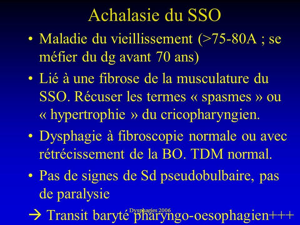 Achalasie du SSO Maladie du vieillissement (>75-80A ; se méfier du dg avant 70 ans)