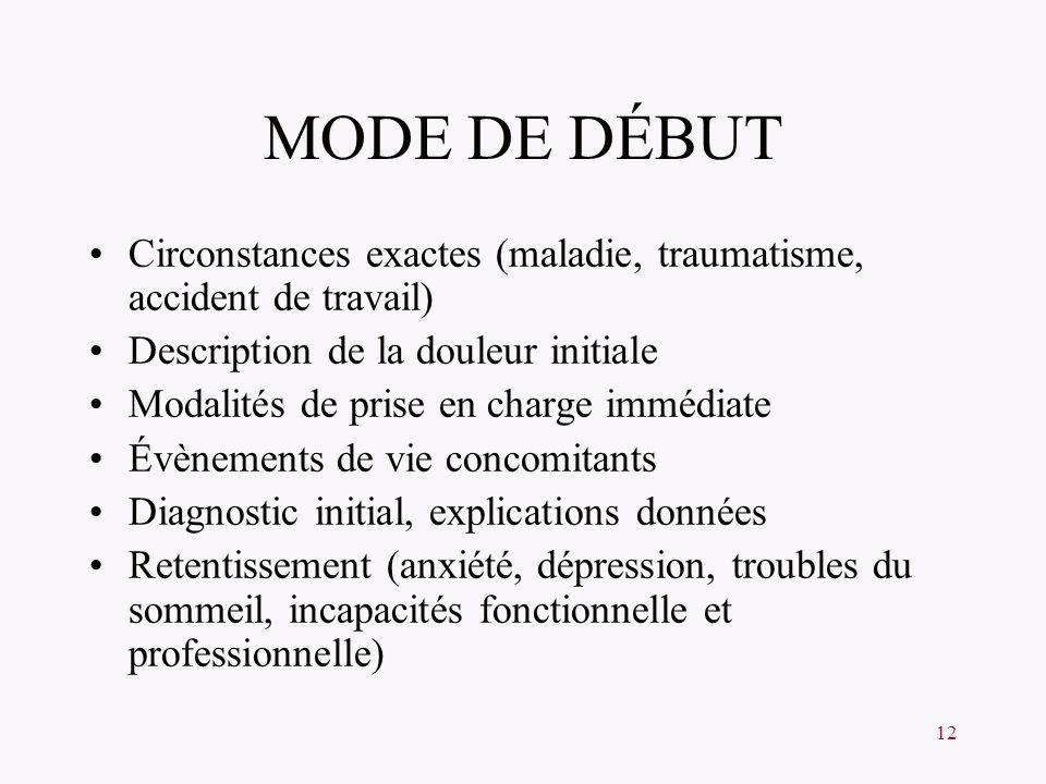 MODE DE DÉBUT Circonstances exactes (maladie, traumatisme, accident de travail) Description de la douleur initiale.