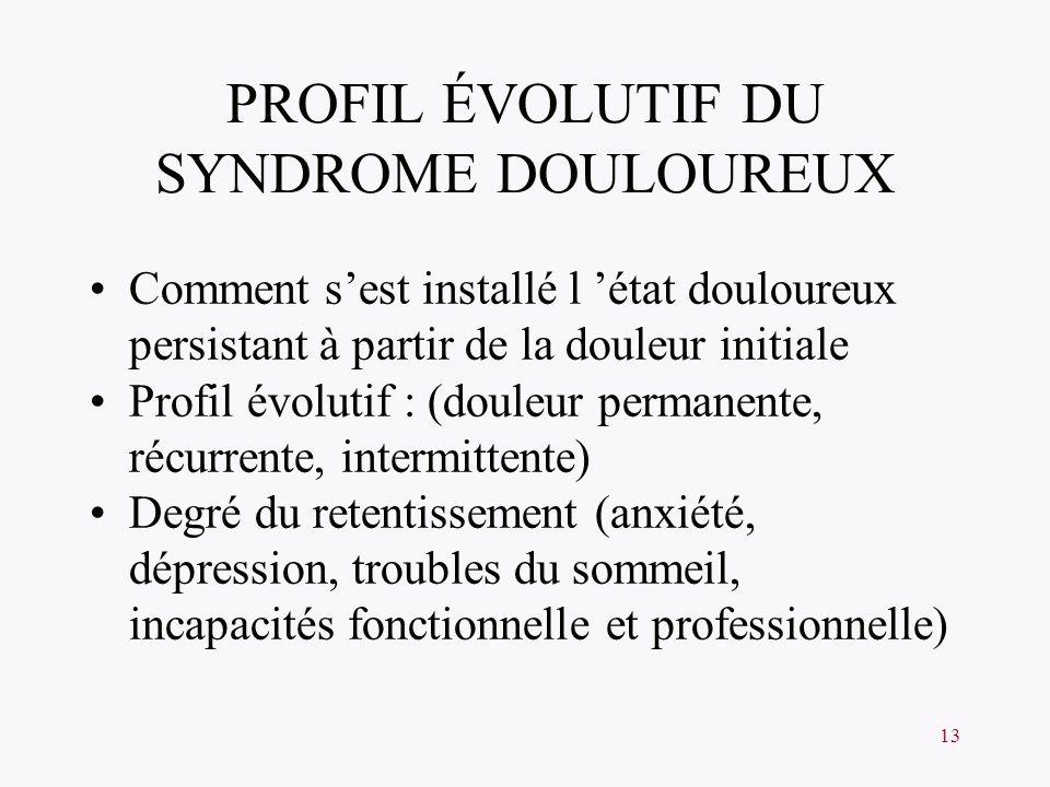 PROFIL ÉVOLUTIF DU SYNDROME DOULOUREUX