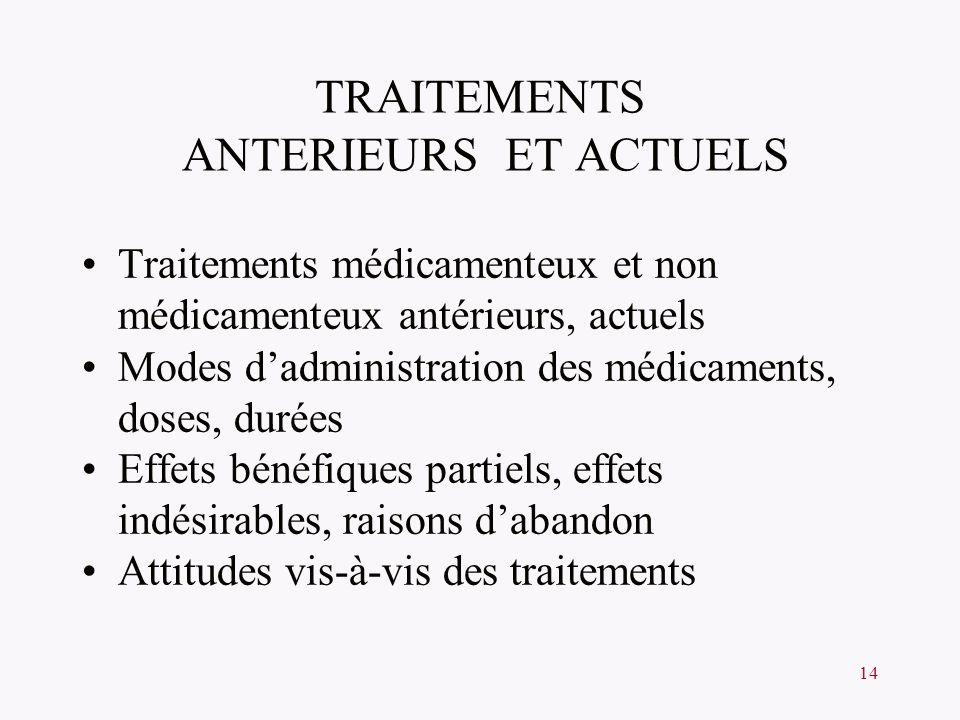 TRAITEMENTS ANTERIEURS ET ACTUELS