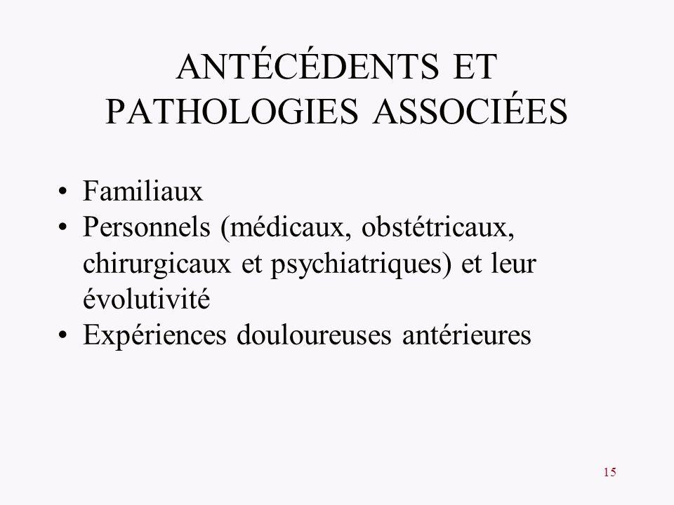 ANTÉCÉDENTS ET PATHOLOGIES ASSOCIÉES