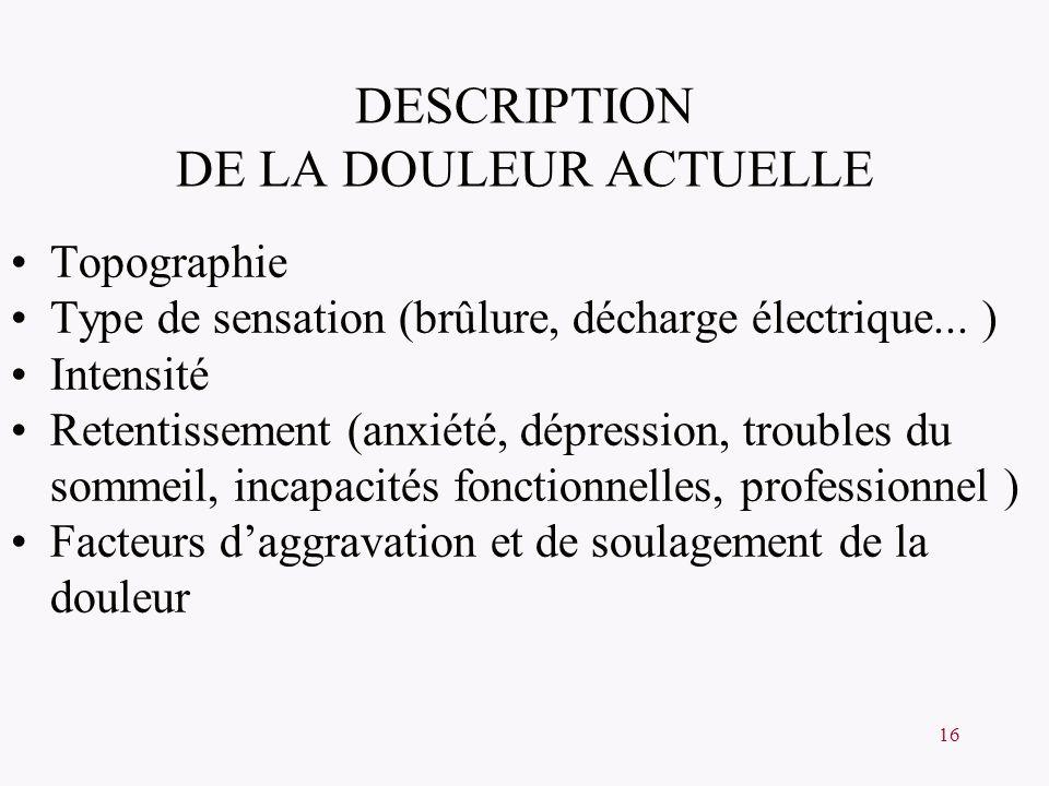 DESCRIPTION DE LA DOULEUR ACTUELLE