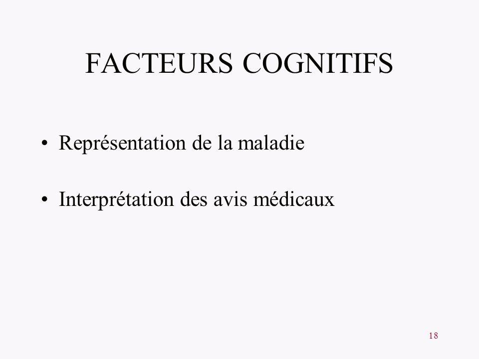 FACTEURS COGNITIFS Représentation de la maladie