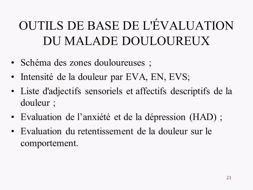 OUTILS DE BASE DE L ÉVALUATION DU MALADE DOULOUREUX