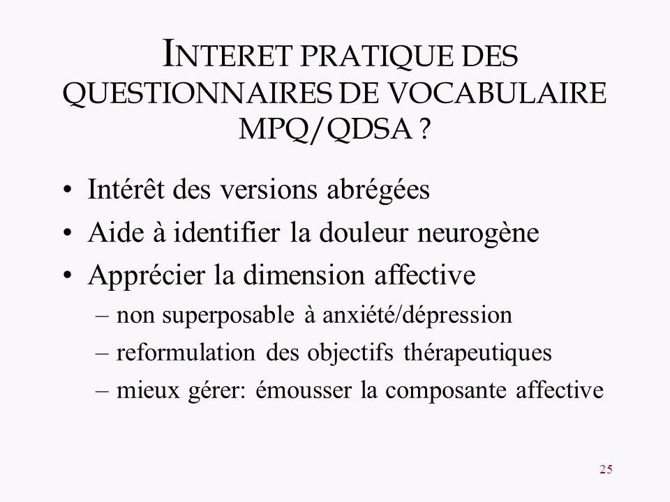 INTERET PRATIQUE DES QUESTIONNAIRES DE VOCABULAIRE MPQ/QDSA