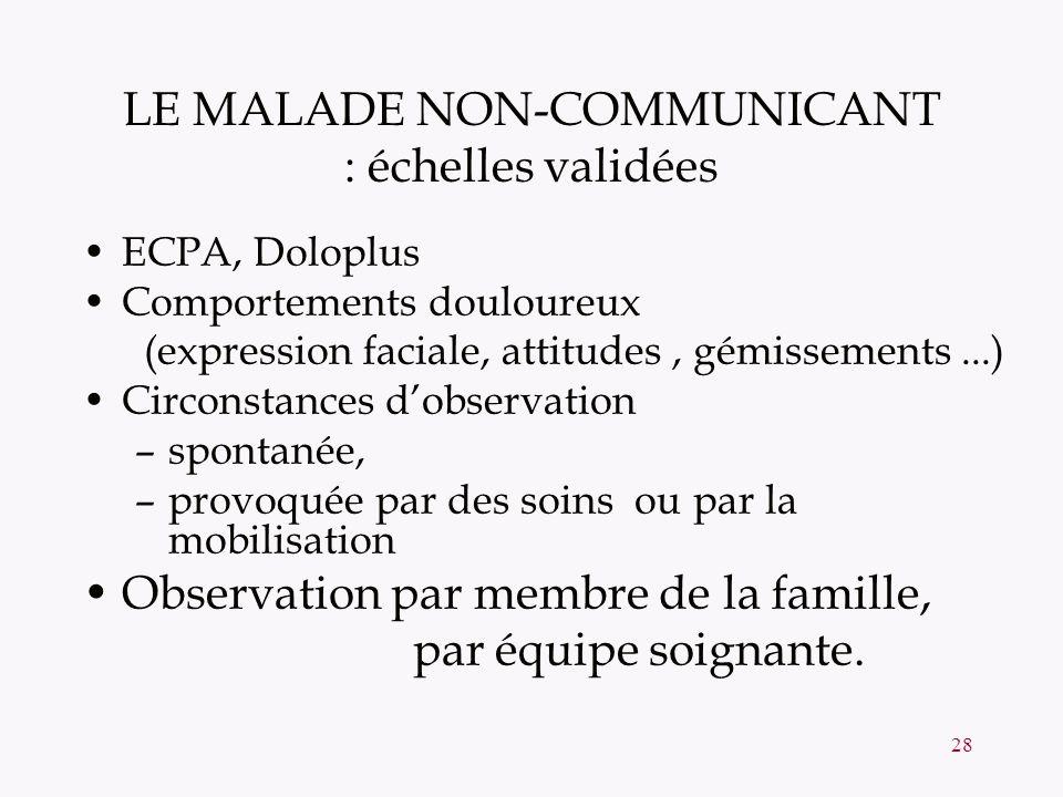 LE MALADE NON-COMMUNICANT : échelles validées