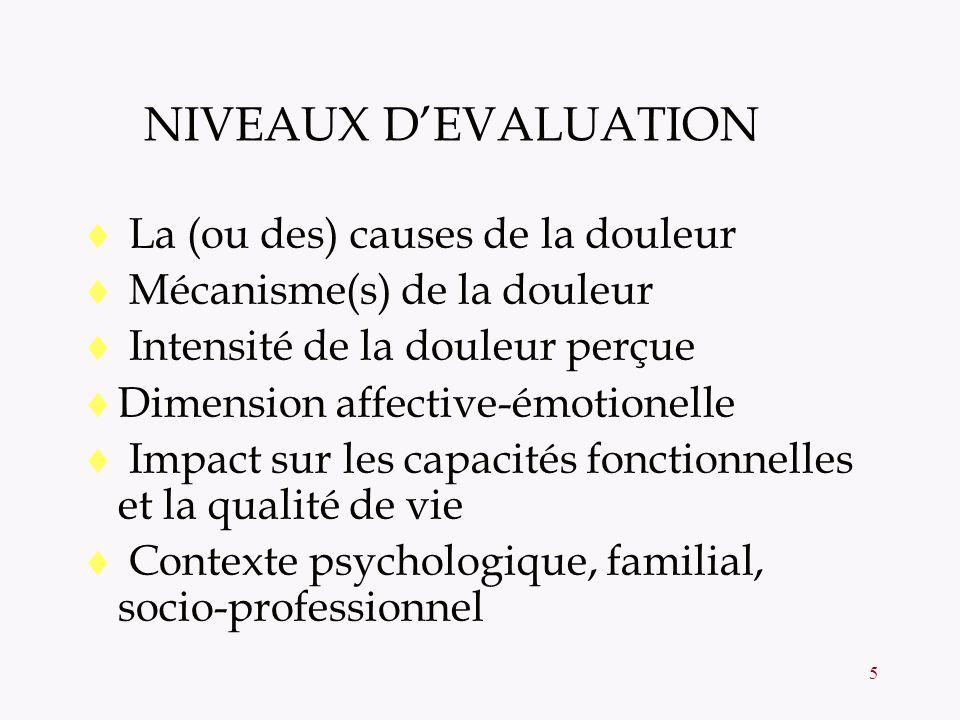 NIVEAUX D'EVALUATION La (ou des) causes de la douleur