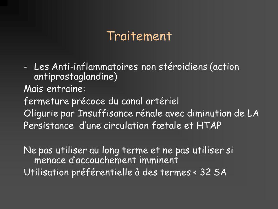 Traitement Les Anti-inflammatoires non stéroidiens (action antiprostaglandine) Mais entraine: fermeture précoce du canal artériel.