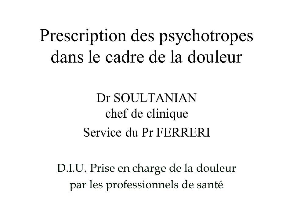 Prescription des psychotropes dans le cadre de la douleur