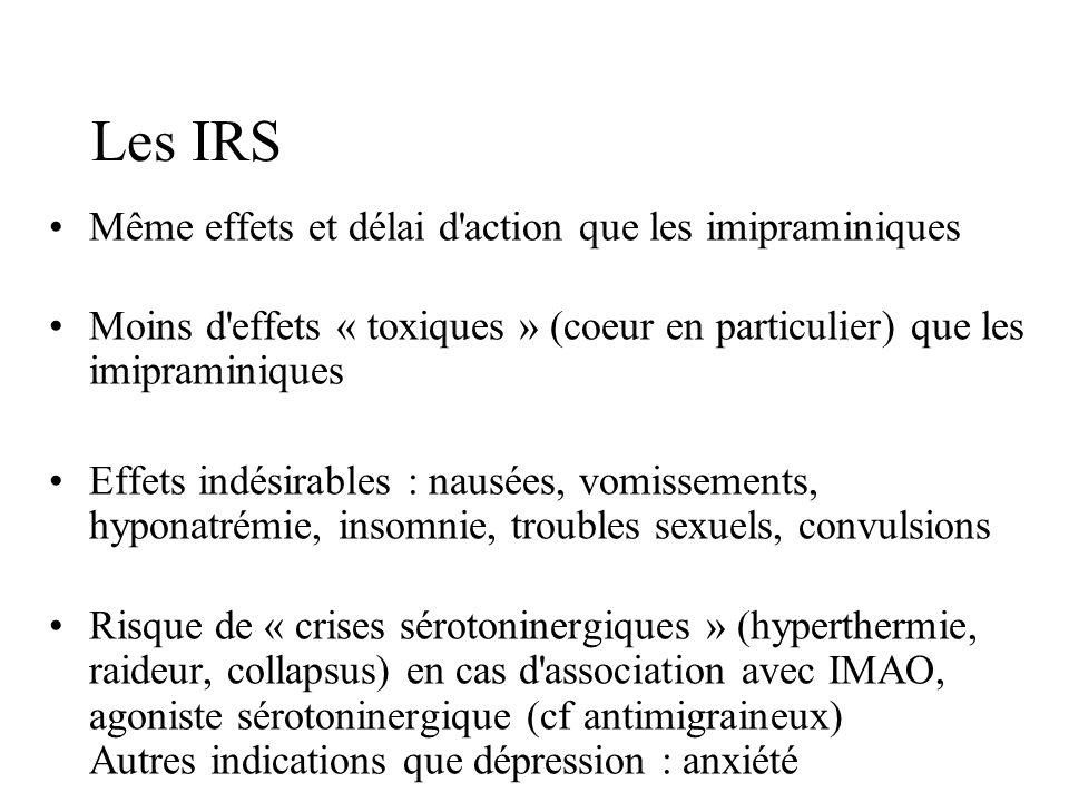 Les IRS Même effets et délai d action que les imipraminiques
