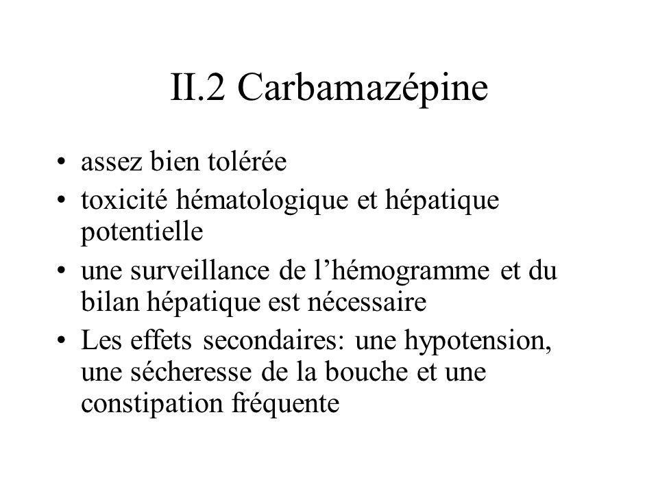 II.2 Carbamazépine assez bien tolérée