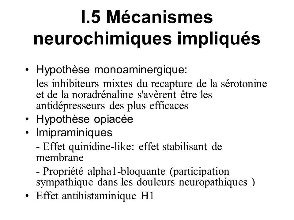 I.5 Mécanismes neurochimiques impliqués