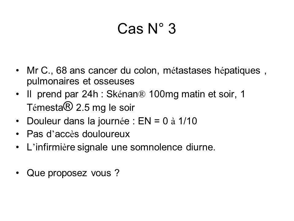 Cas N° 3 Mr C., 68 ans cancer du colon, métastases hépatiques , pulmonaires et osseuses.