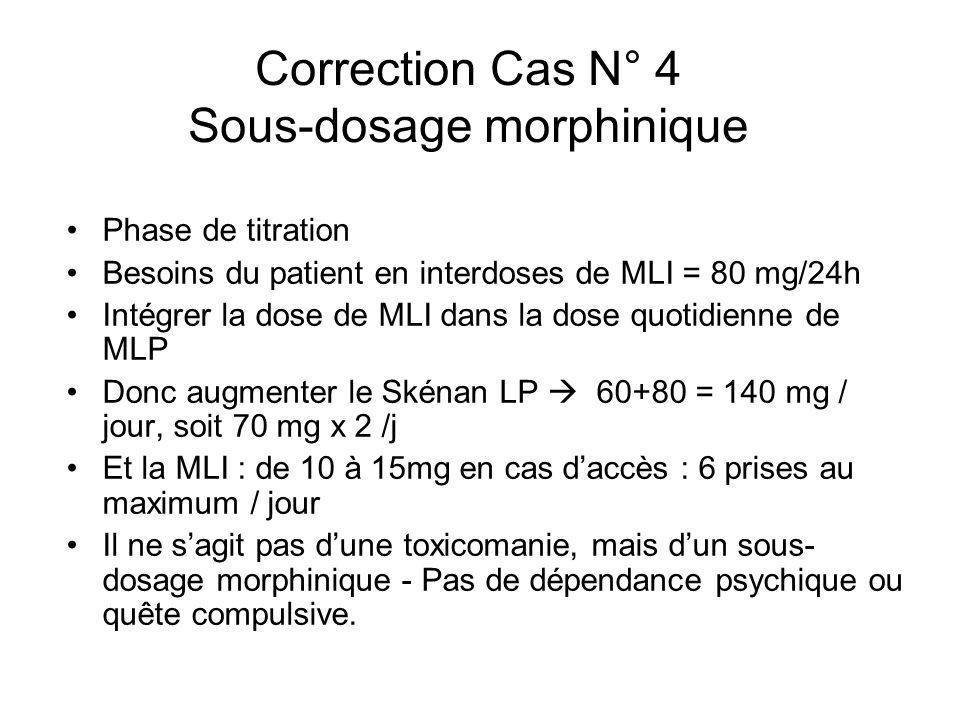 Correction Cas N° 4 Sous-dosage morphinique