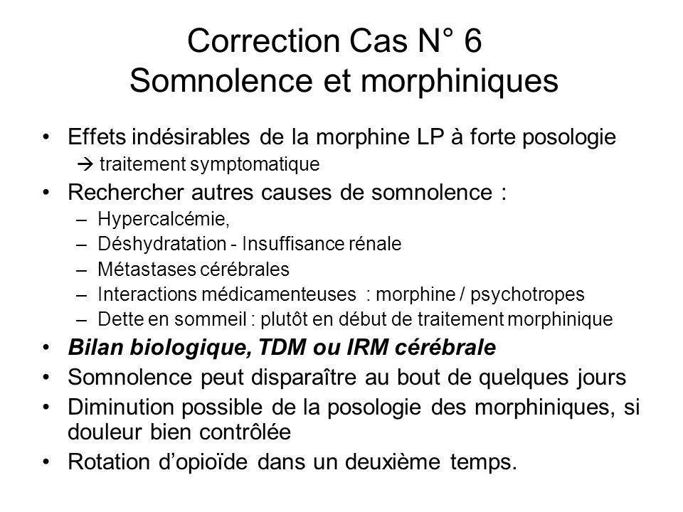 Correction Cas N° 6 Somnolence et morphiniques