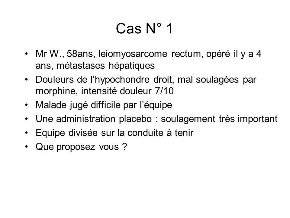 Cas N° 1 Mr W., 58ans, leiomyosarcome rectum, opéré il y a 4 ans, métastases hépatiques.