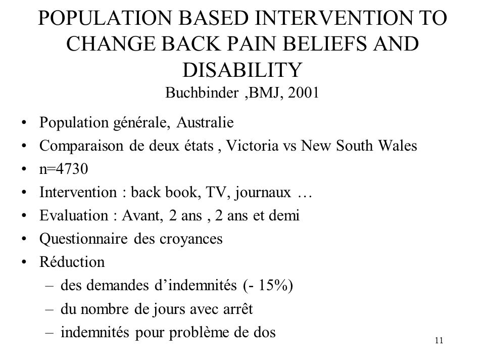 POPULATION BASED INTERVENTION TO CHANGE BACK PAIN BELIEFS AND DISABILITY Buchbinder ,BMJ, 2001