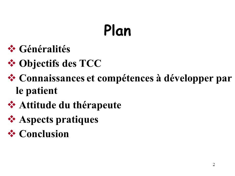 Plan Généralités Objectifs des TCC