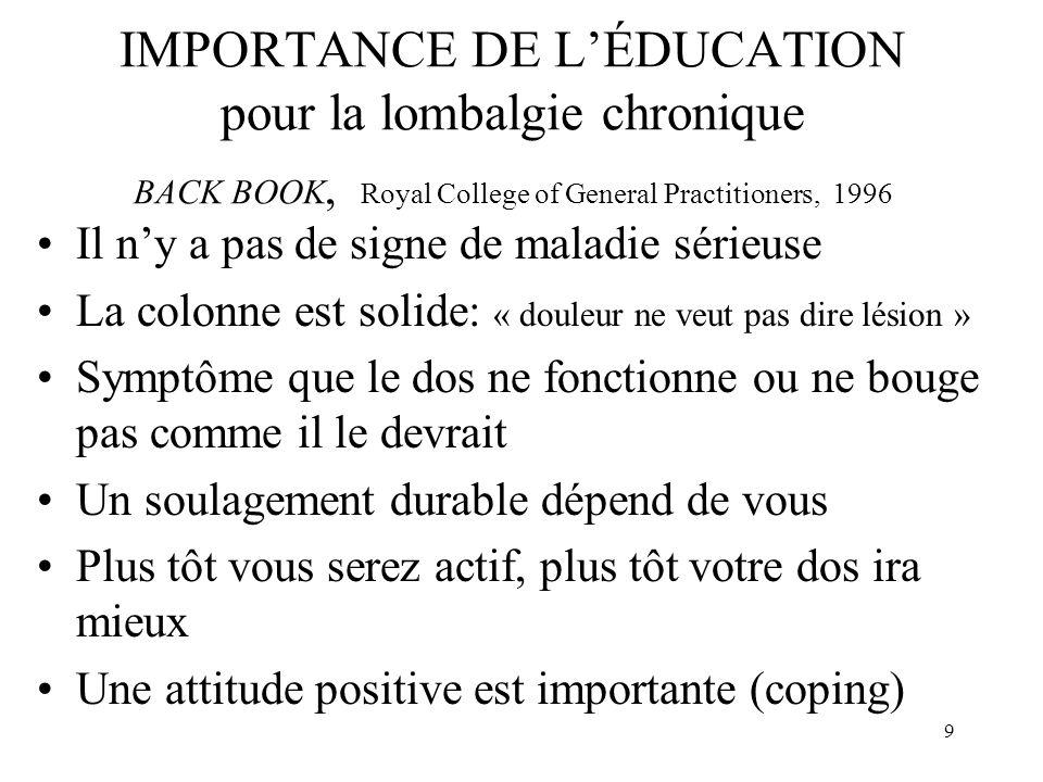 IMPORTANCE DE L'ÉDUCATION pour la lombalgie chronique BACK BOOK, Royal College of General Practitioners, 1996