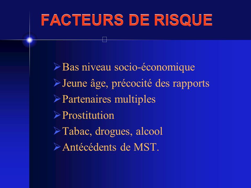 FACTEURS DE RISQUE Bas niveau socio-économique