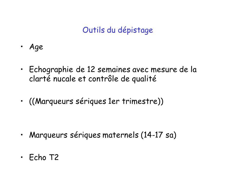 Outils du dépistage Age. Echographie de 12 semaines avec mesure de la clarté nucale et contrôle de qualité.