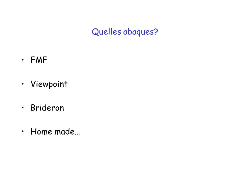 Quelles abaques FMF Viewpoint Brideron Home made…