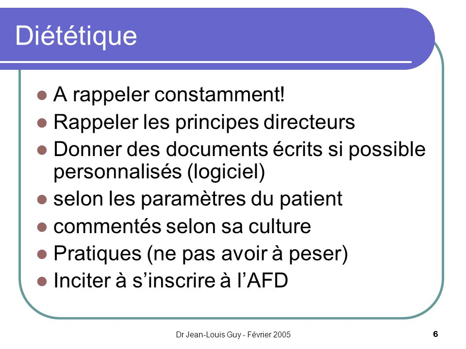 Dr Jean-Louis Guy - Février 2005