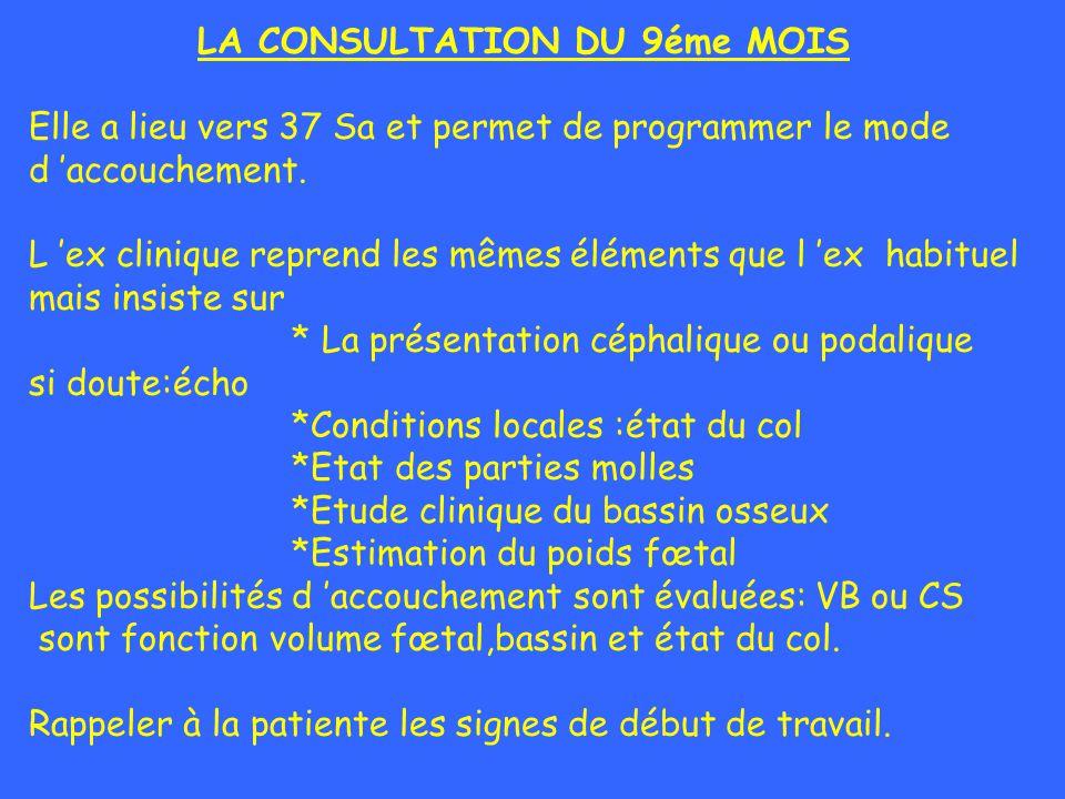 LA CONSULTATION DU 9éme MOIS