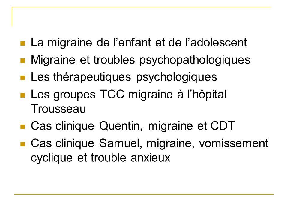 La migraine de l'enfant et de l'adolescent