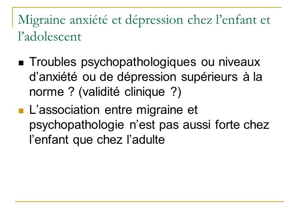 Migraine anxiété et dépression chez l'enfant et l'adolescent