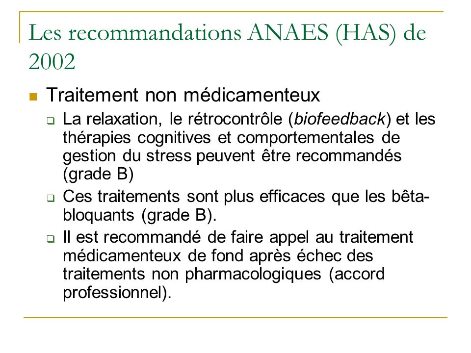 Les recommandations ANAES (HAS) de 2002