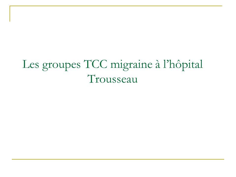 Les groupes TCC migraine à l'hôpital Trousseau